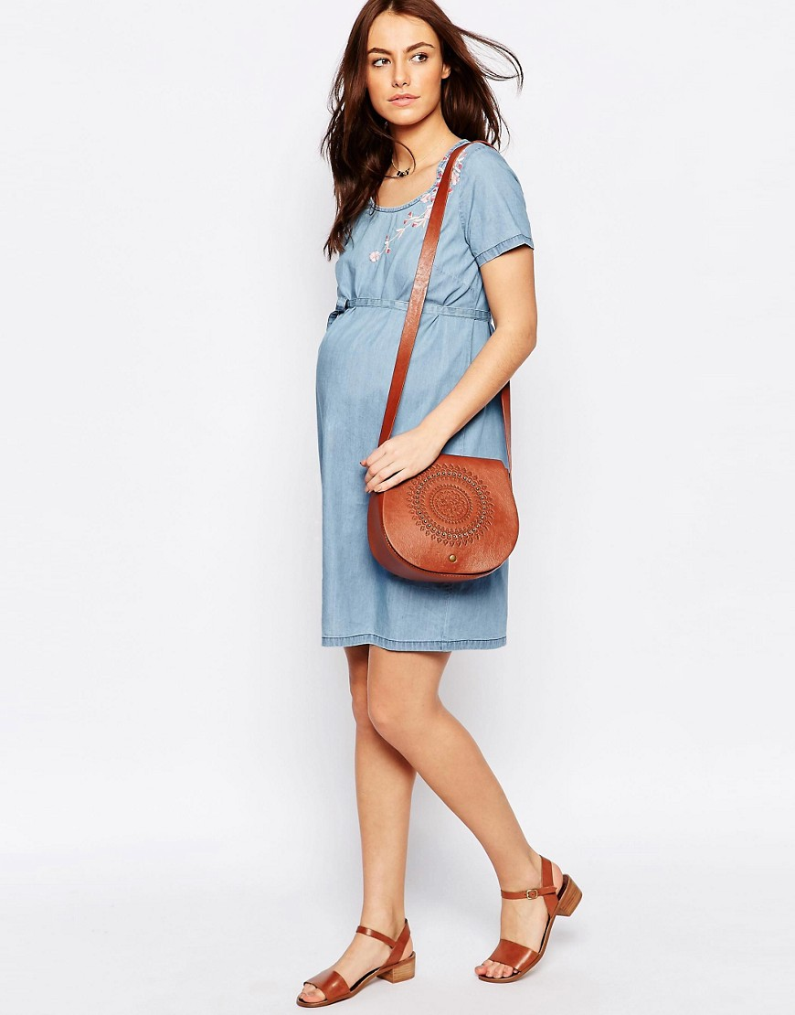Mamalicious Denim Shift Dress With Embroidery
