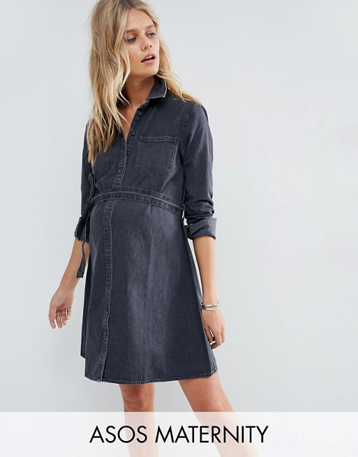 ASOS MATERNITY Denim Belted Shirt Dress in Washed Black