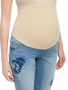 Jessica Simpson Secret Fit Belly Floral Embroidered Maternity Crop Jeans