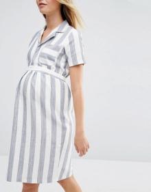 ASOS Maternity Shirt Dress In Linen Stripe