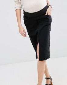 ASOS Maternity Denim Pencil Skirt in Washed Black