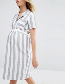 ASOS Maternity Shirt Dress In Linen Stripe