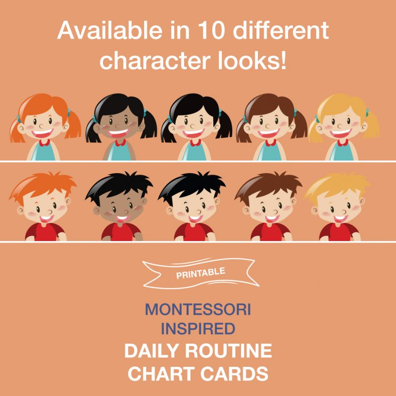 Printable toddler preschool daily routine chart cards - available in 10 different character looks
