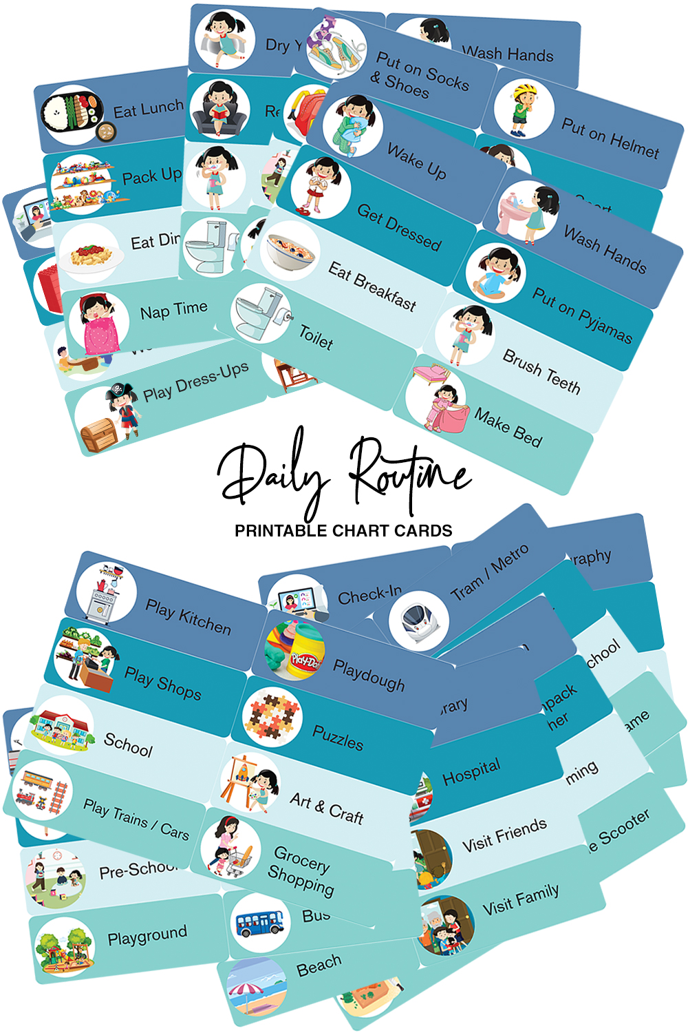 Printable toddler preschool daily routine chart cards