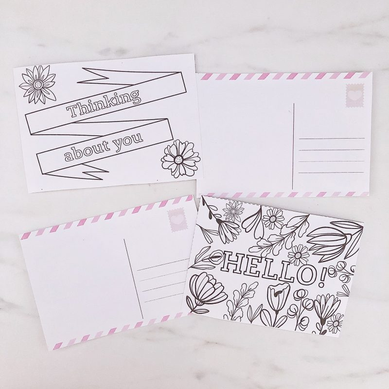 thinking of you; hello; Printable colouring-in postcards - social isolation activity for kids