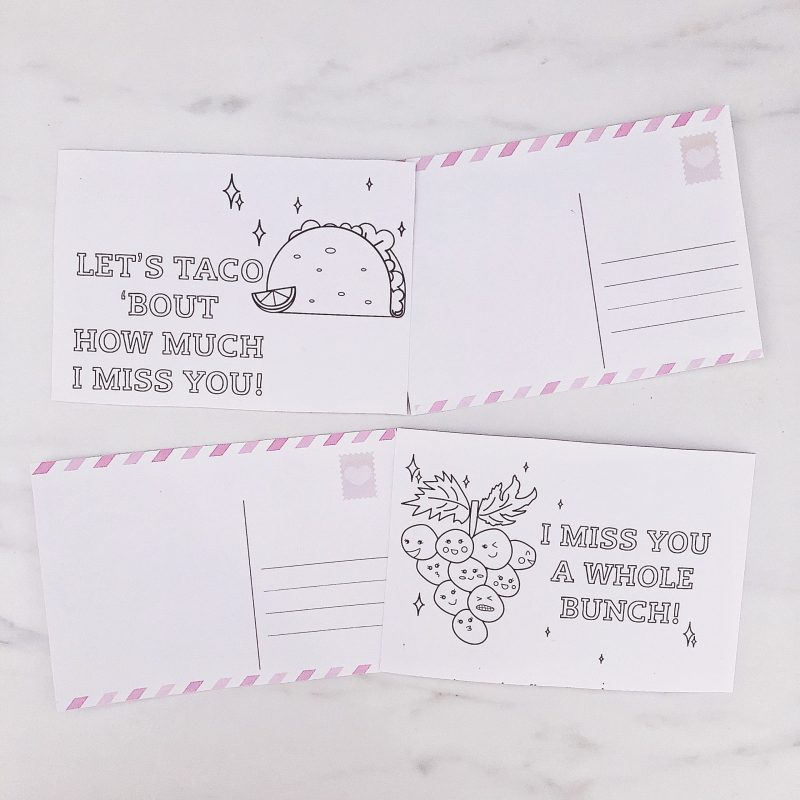 Let's taco 'bout how much I miss you; I miss you a whole bunch - Printable colouring-in postcards - social isolation activity for kids