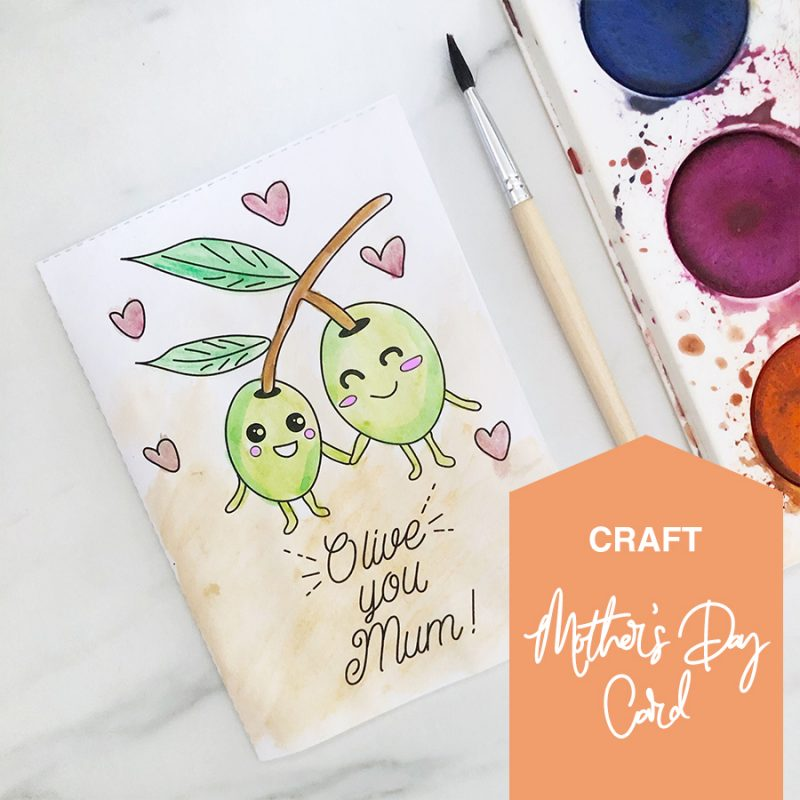 Printable colouring-in mother's day card - funny puns - olive you