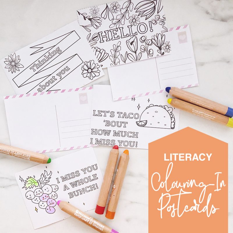 Printable colouring-in postcards - social isolation activity for kids
