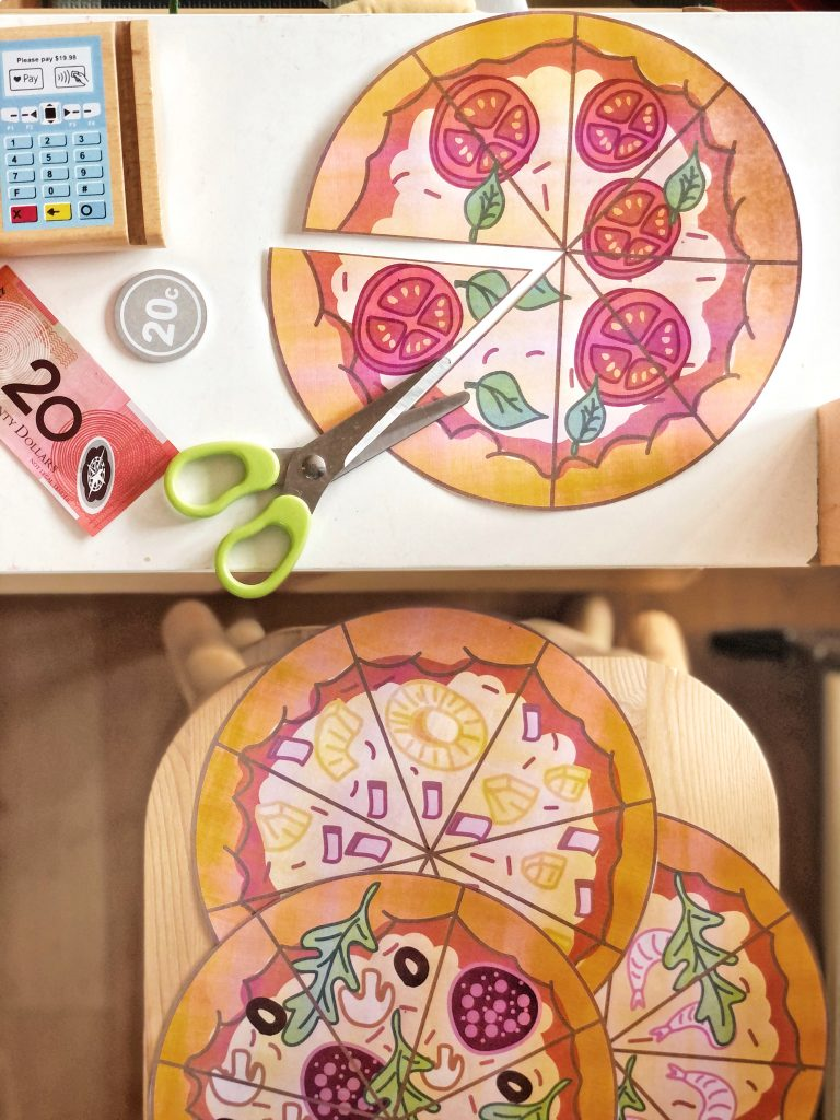 Pizza cutting printables provide a familiar prop for imaginative play whilst kids develop scissor cutting skills