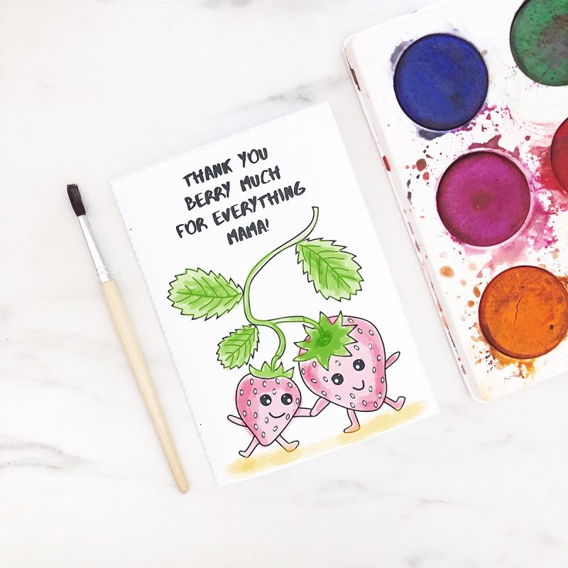 Printable colouring-in mother's day card - funny puns - thank you berry much