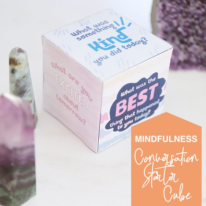 Have mindful conversations with kids with this conversation starter cube