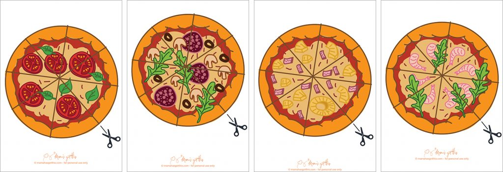 Cute pizza cutting skills practice worksheet printable for toddlers and early years education