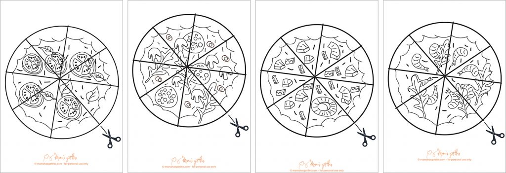 Free pizza cutting skills practice worksheet printable