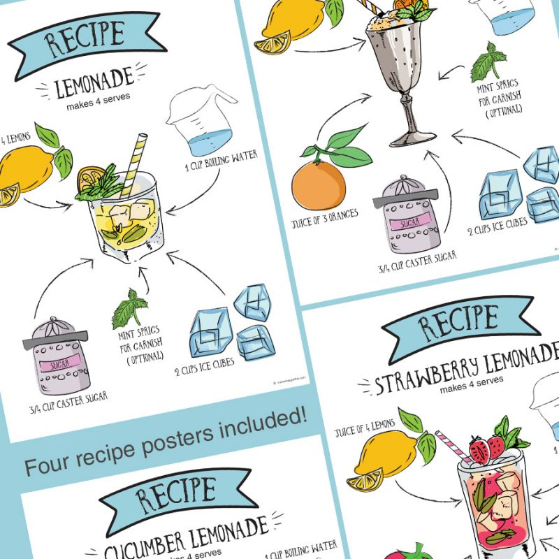 Recipe posters- Lemonade stand/store dramatic play pretend play imaginative play printables set