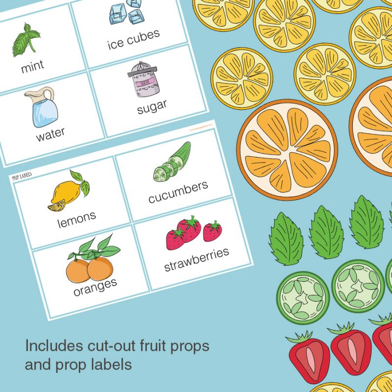 Printable cut-out fruit props and prop labels - Lemonade stand/store dramatic play pretend play imaginative play printables set
