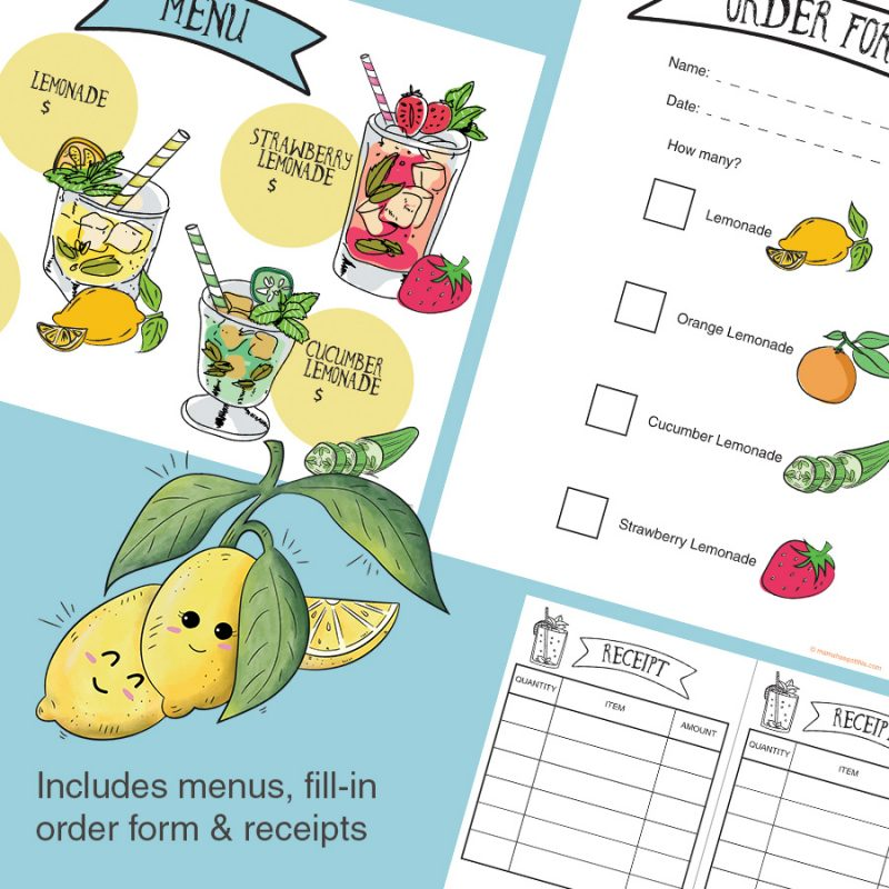 Menus, order forms and receipts - Lemonade stand/store dramatic play pretend play imaginative play printables set intables set