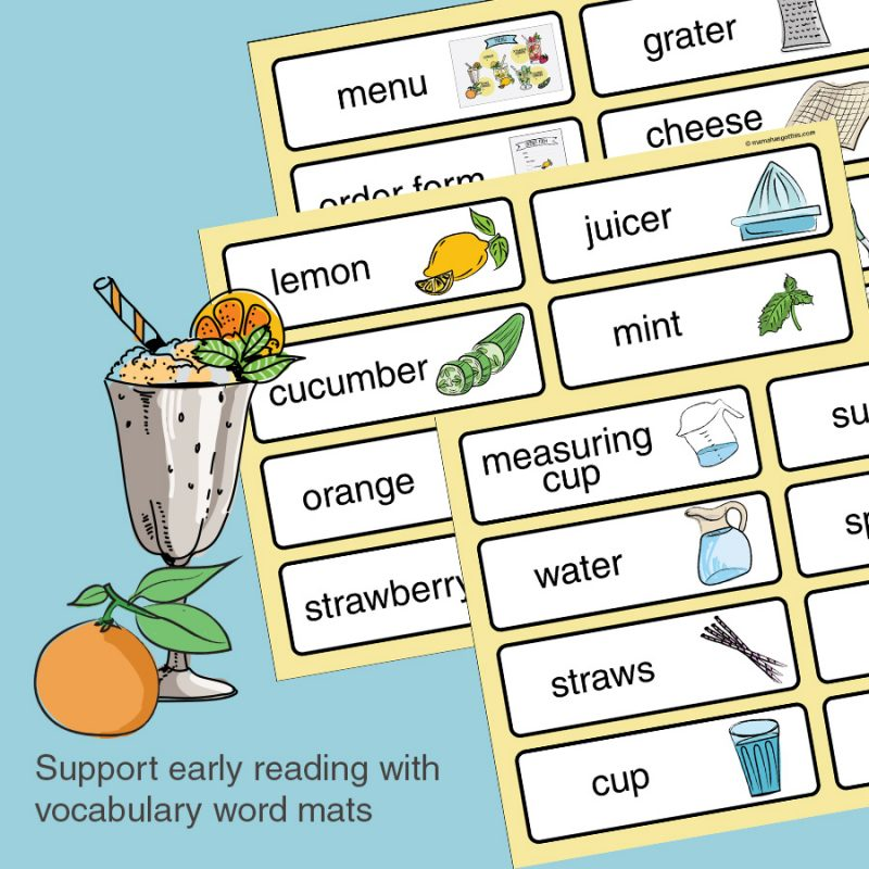 Vocabulary word mats - Lemonade stand/store dramatic play pretend play imaginative play printables set