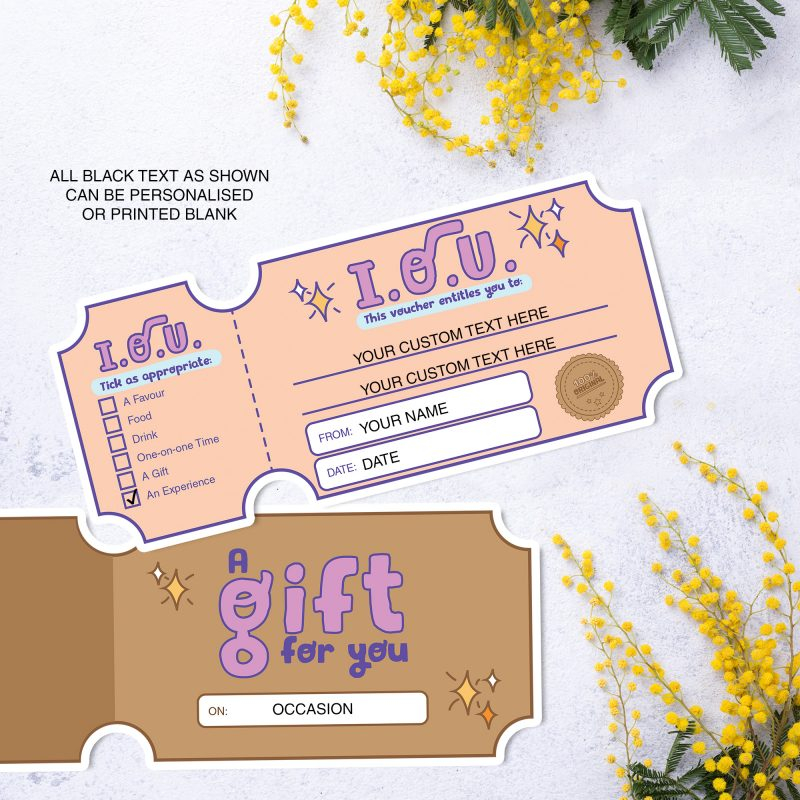 IOU I Owe You voucher coupon template printable and customisable