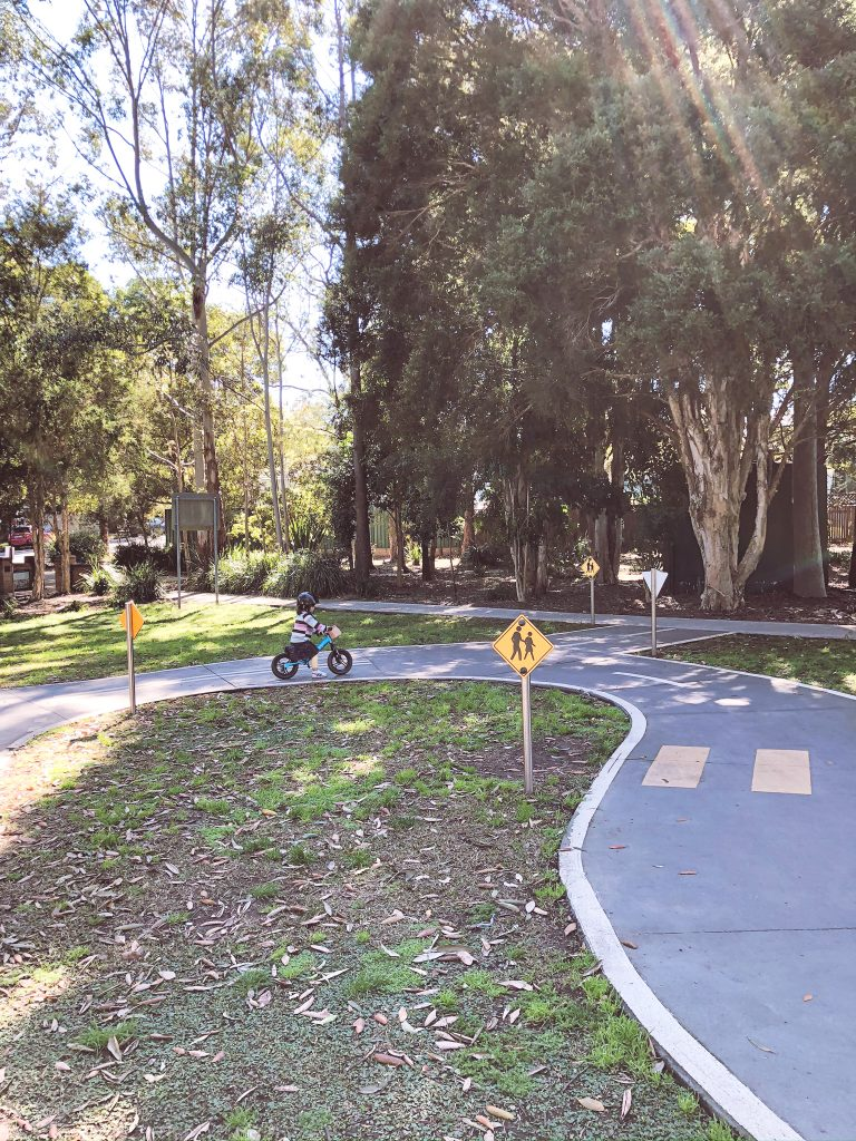 Independently riding a balance bike