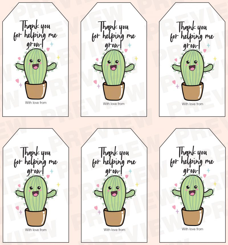 Thank you for helping me grow - - teacher appreciation puns gift tag printable