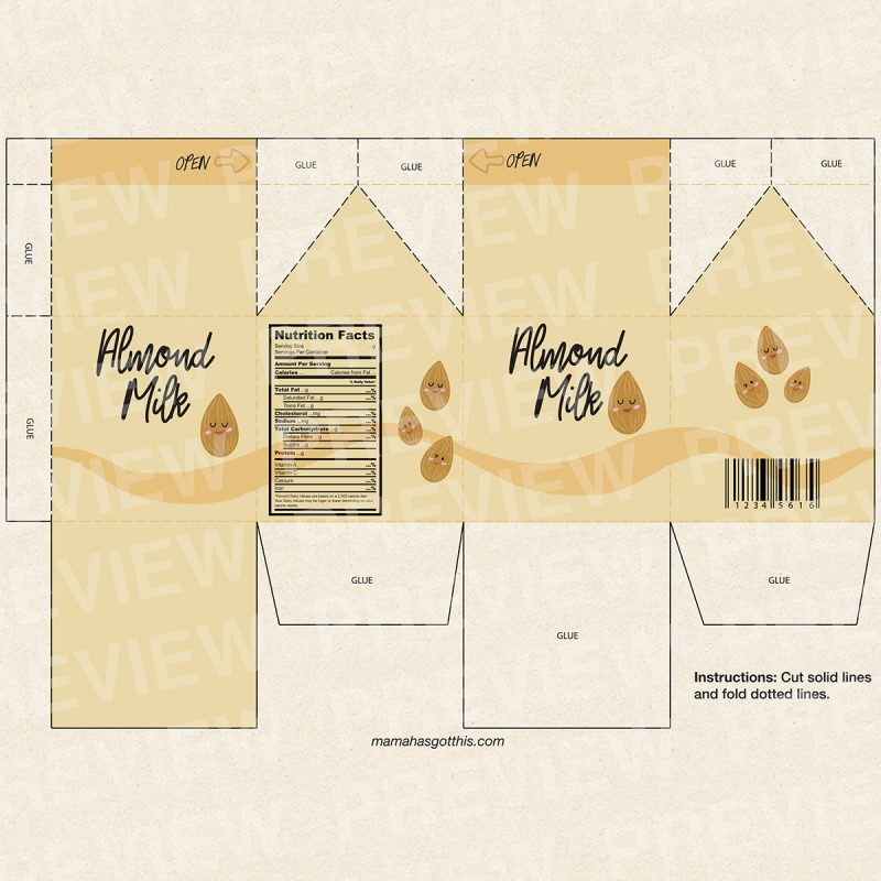 Almond milk - Plant based vegan milk carton printables - pretend play food