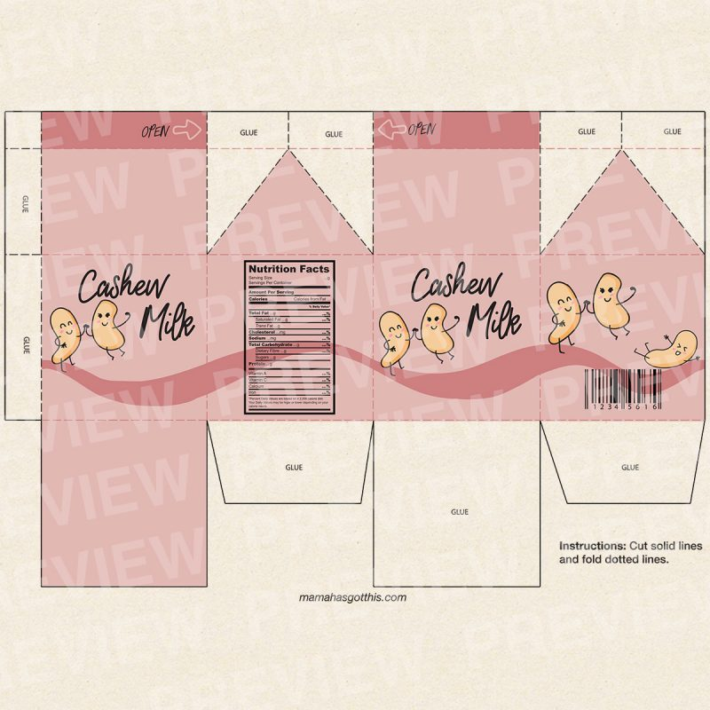 Cashew milk - Plant based vegan milk carton printables - pretend play food