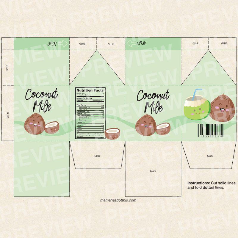 Coconut milk - Plant based vegan milk carton printables - pretend play food