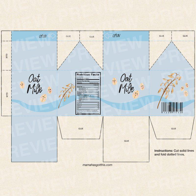 Oat milk - Plant based vegan milk carton printables - pretend play food