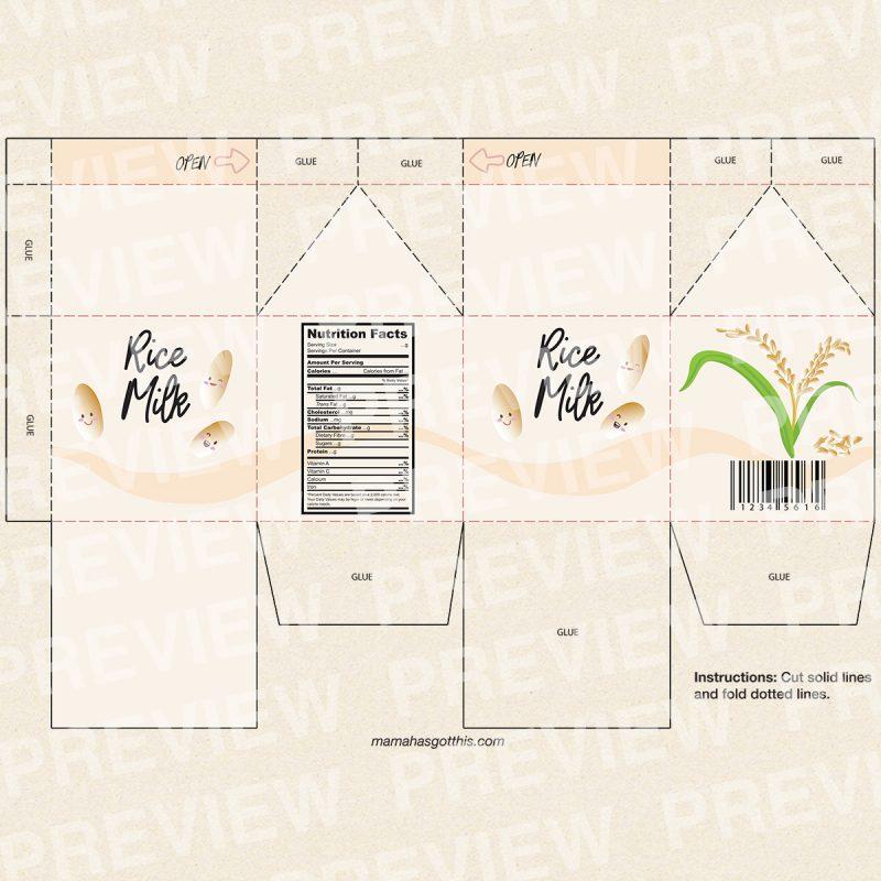 Rice milk - Plant based vegan milk carton printables - pretend play food