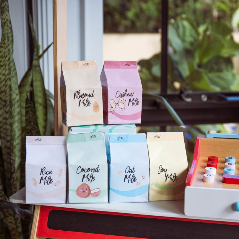 Plant based vegan milk carton printables - pretend play food